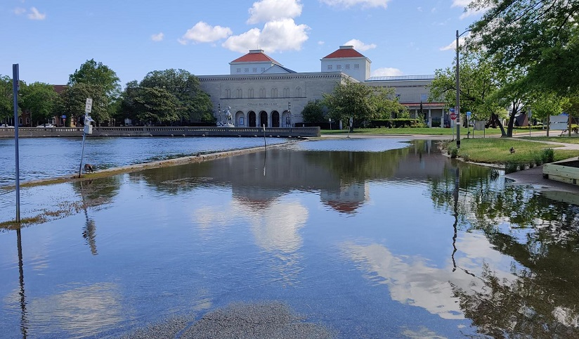 Image of a flooded field in front of Old Dominion University